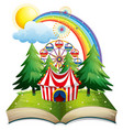 book with circus tent in the park vector image vector image