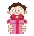 boy holding gift icon vector image