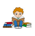 boy reading surrounded by books vector image vector image
