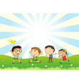 Boys playing in the hill vector image vector image