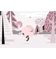 Brain running in the forest white and pink vector image vector image