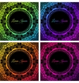 Bright colorful neon doodle circle frame vector image vector image