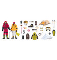 bundle of mountaineering and touristic equipment vector image
