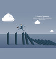 business man running on chart bar falling economic vector image vector image