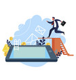 businessman jumps into smartphone vector image vector image
