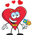 Cartoon Heart with Flowers vector image vector image