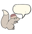 cartoon squirrel wearing hat with speech bubble vector image vector image