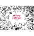 christmas holiday greeting card hand drawn vector image