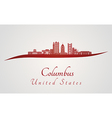 Columbus skyline in red vector image vector image