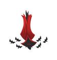 creepy vampire bat in red cape vector image