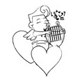 cupid on hearts with harp sketch vector image