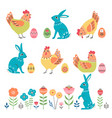 cute folk easter design elements vector image