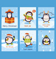 cute penguin cards xmas penguin mascots posters vector image