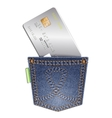 Denim pocket with credit card on a white vector image vector image