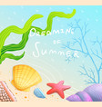 dreaming summer poster design with sandy beach vector image