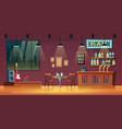 empty snack bar pub interior cartoon vector image vector image