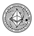 ethereum coin black silhouette vector image vector image