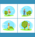 farmer with harvesting basket vector image vector image