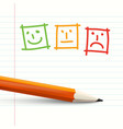 feedback symbols on notebook paper with pencil vector image vector image