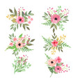 floral set collection with flowers drawing vector image