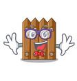 geek character close up on wooden fence door vector image