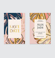 gold navy pink wedding template artistic covers vector image vector image