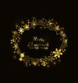 gold snowflake frame black background christmas vector image vector image