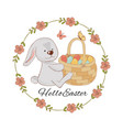 hare and basket easter animal holiday set vector image
