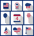 Icons Set USA Flag Color Independence Day 4th of vector image vector image