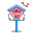 in love wooden bird house on a pole cartoon vector image