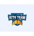 kiteboarding team sport emblem kite symbol on a vector image vector image