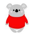 koala in red ugly sweater merry christmas kawaii vector image vector image