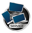 laptop computer and smartphone in silver circle vector image vector image