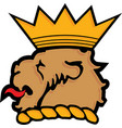 lion head with crown heraldry icon vector image
