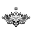 lotus flower ethnic symbol black color in white vector image