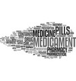 medicament word cloud concept vector image vector image