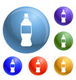 plastic bottle icons set vector image vector image