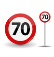 round red road sign speed limit 70 kilometers per vector image vector image