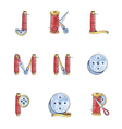 Set watercolor alphabet J-R of sewing items vector image