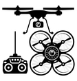 Silhouette of quadcopter and remote control vector image vector image