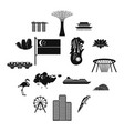 singapore icons set simple style vector image