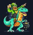 st patricks day bearded man riding a dinosaur vector image vector image