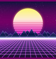 synthwave retro design mountains and sun vector image vector image