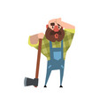 Tired lumberjack leaning on axe and rubbing his