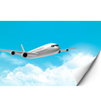 Travel background with an airplane and a bent vector image
