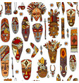 tribal mask ethnic seamless pattern sketch for vector image vector image