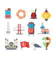 turkey landmarks travellers set istanbul vector image