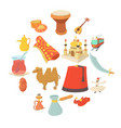turkey travel symbols icons set cartoon style vector image vector image