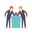 two businessmen arm wrestling business vector image vector image