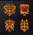 vintage victorian shields with crown vector image vector image